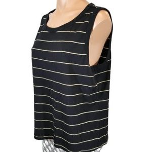 LC black sparkly gold striped tank top XL